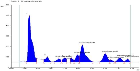 HPTLC of methanolic extract of Spathodea campanulata.10 µl injection.