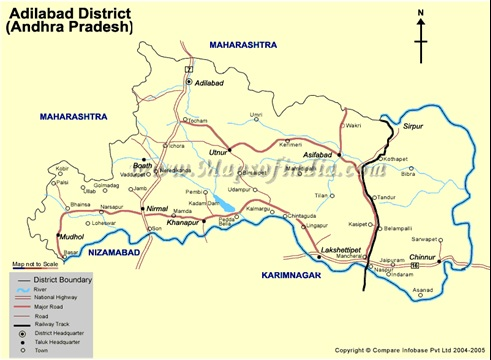 Showing Different Mandals of Adilabad District Andhra Pradesh India